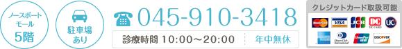 045-910-3418 診療時間 10:00~20:00 年中無休